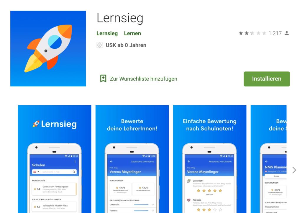 Lernsieg-App im Android-App-Store von Google Play